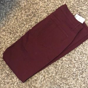 express maroon jean leggings